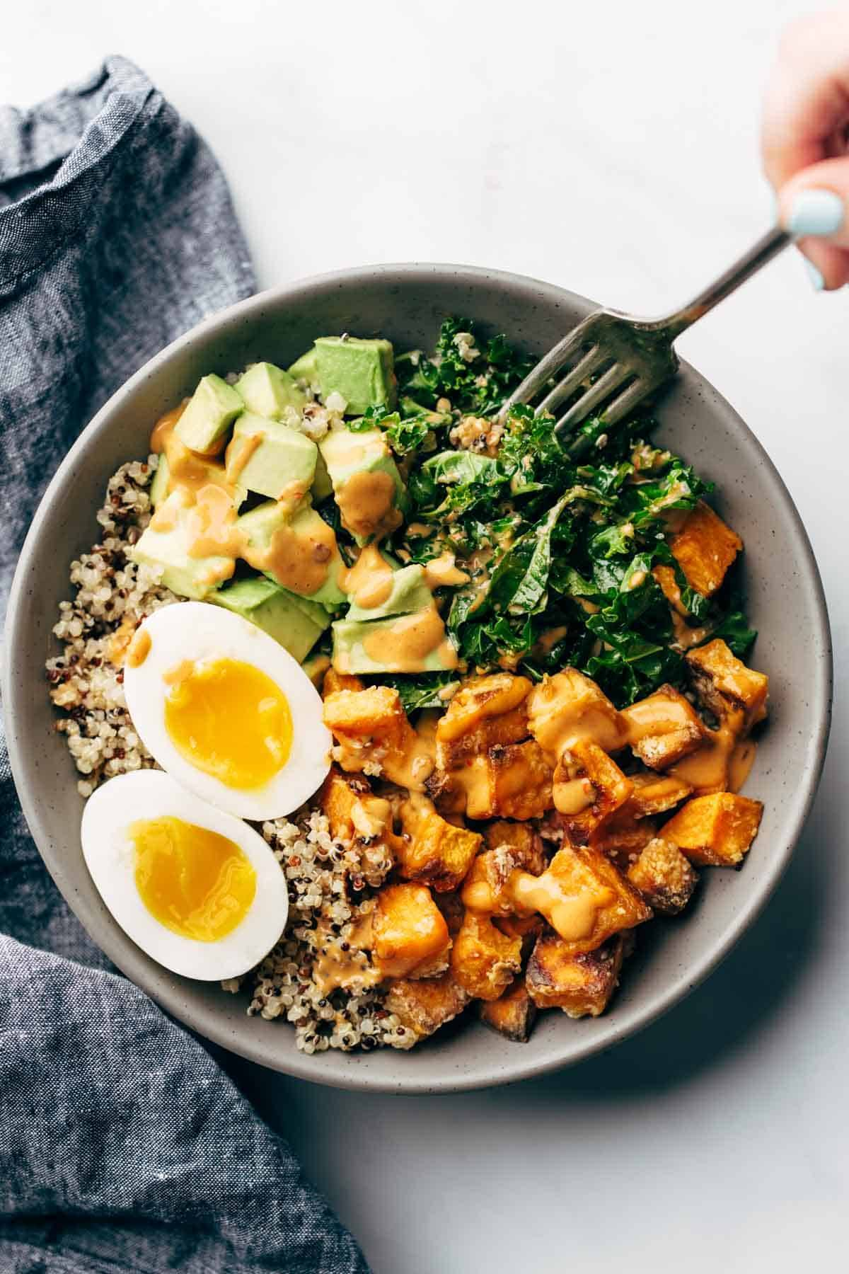 Chipotle taini bowl with soft boiled egg.