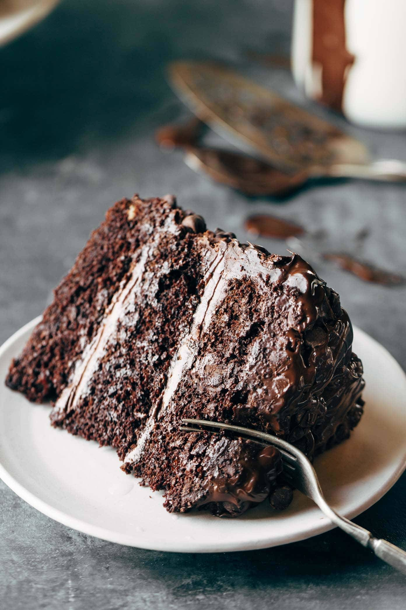 Chocolate Cake With Chocolate Chips On Top