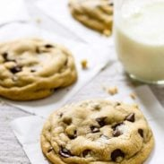 Chocolate chip cookies and a class of milk