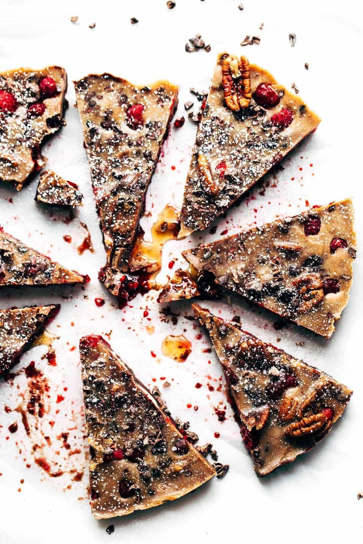 Chocolate Raspberry Almond Butter Bar pieces.