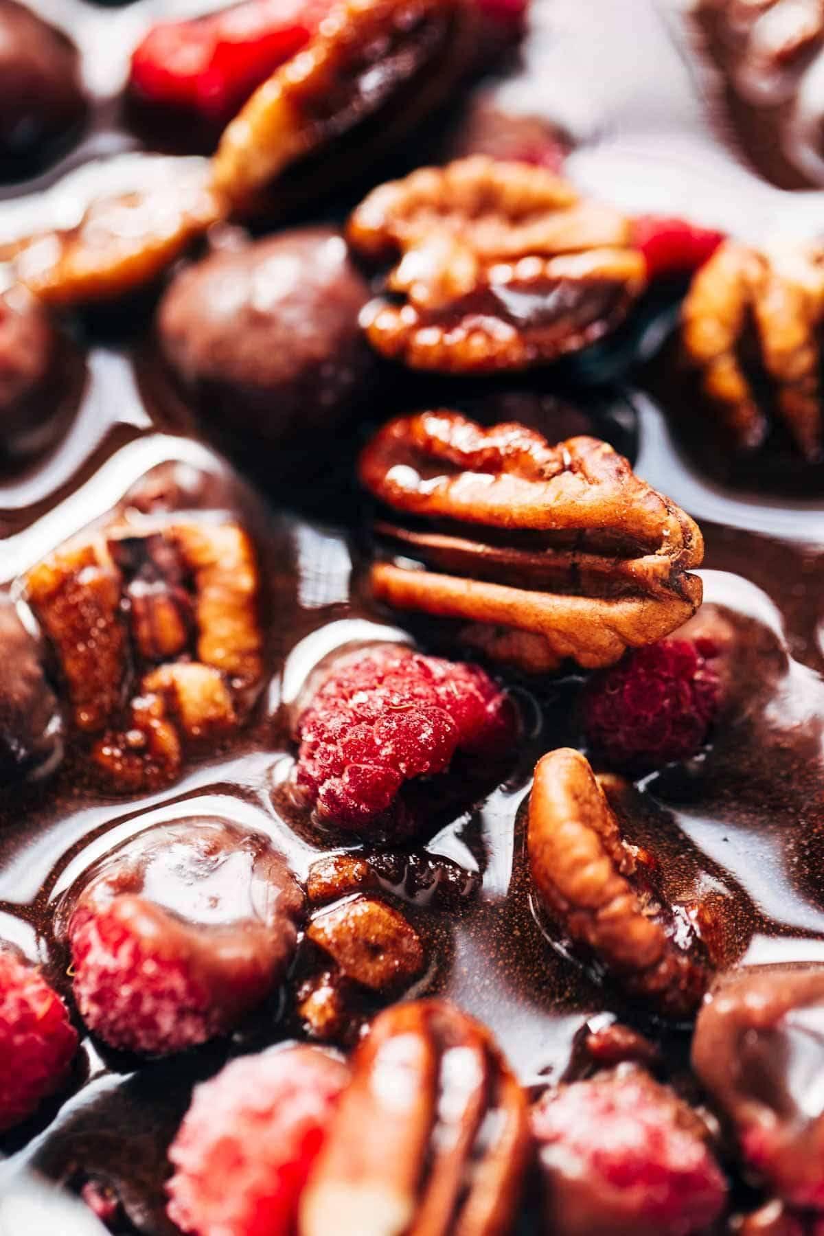 Pecans and raspberries.