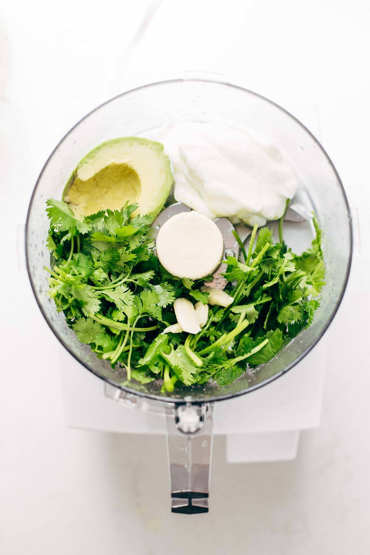 Avocado, greek yogurt, lime, and cilantro in a food processor.