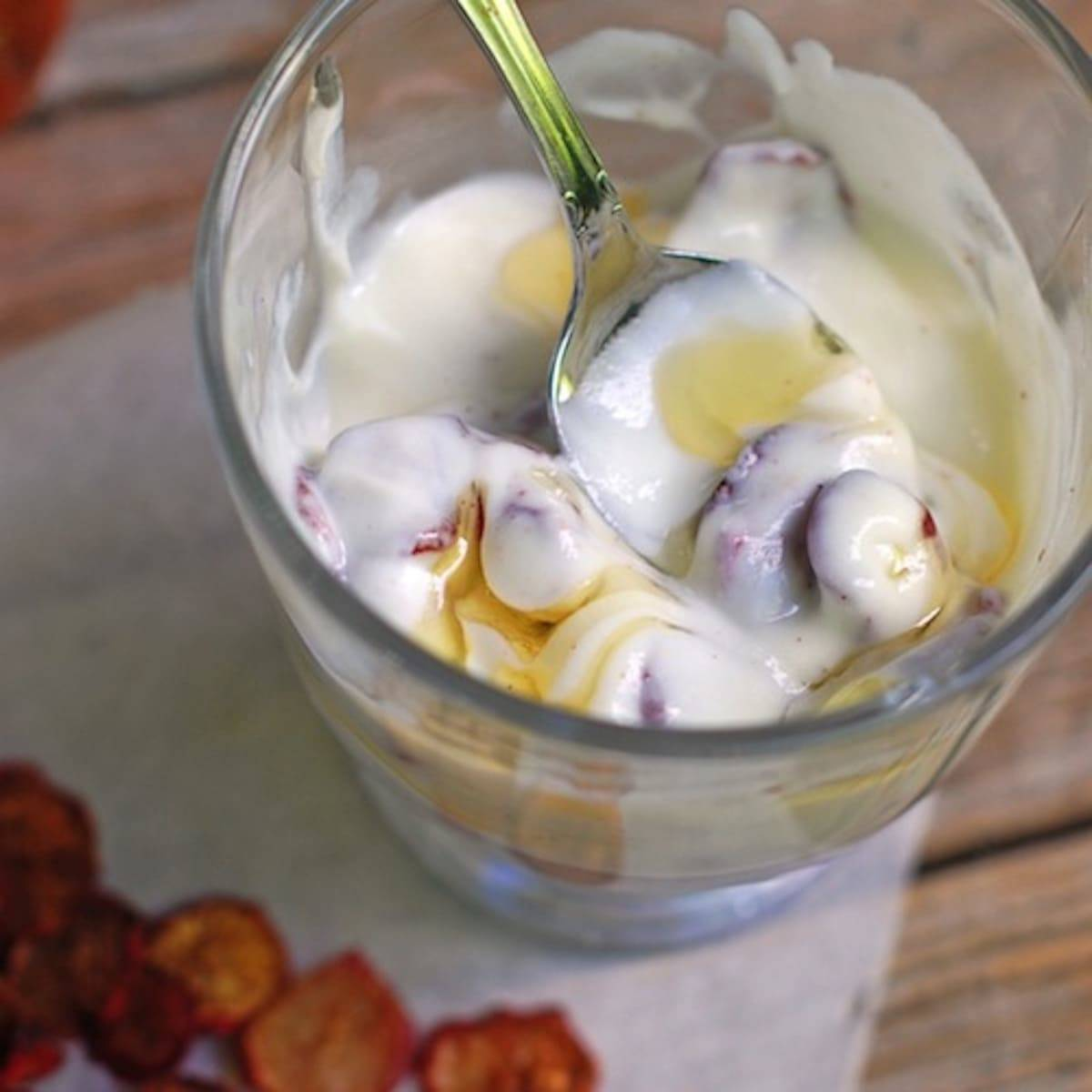 These cinnamon sugar radish chips are an easy and fun way to make use of fresh radishes! Perfect served over Greek yogurt with honey. | pinchofyum.com