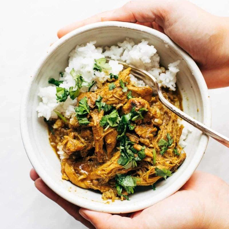 Tandoori chicken in bowl with rice.
