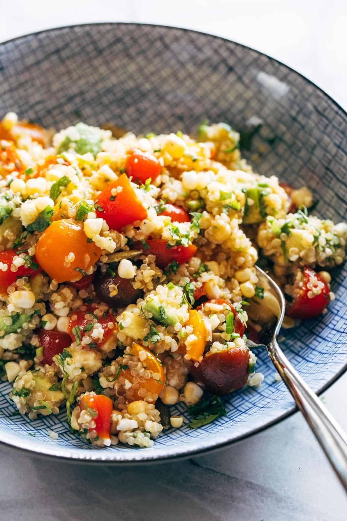 Corn, Avocado, and Quinoa Salad with Marinated Tomatoes Recipe ...