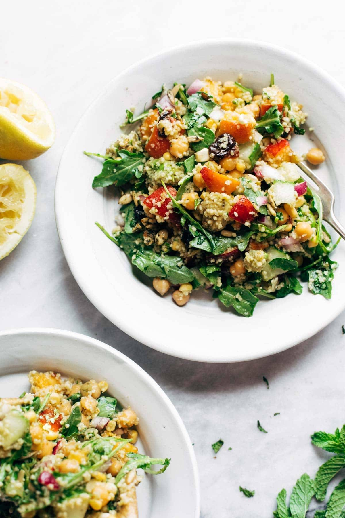 Couscous summer salad on a plate.