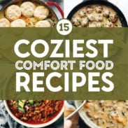 Comfort food recipes in a collage.
