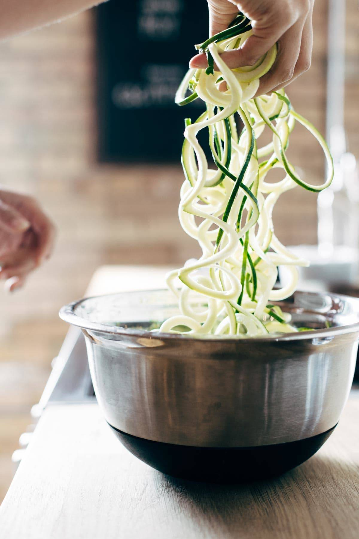 Zoodles in a bowl.