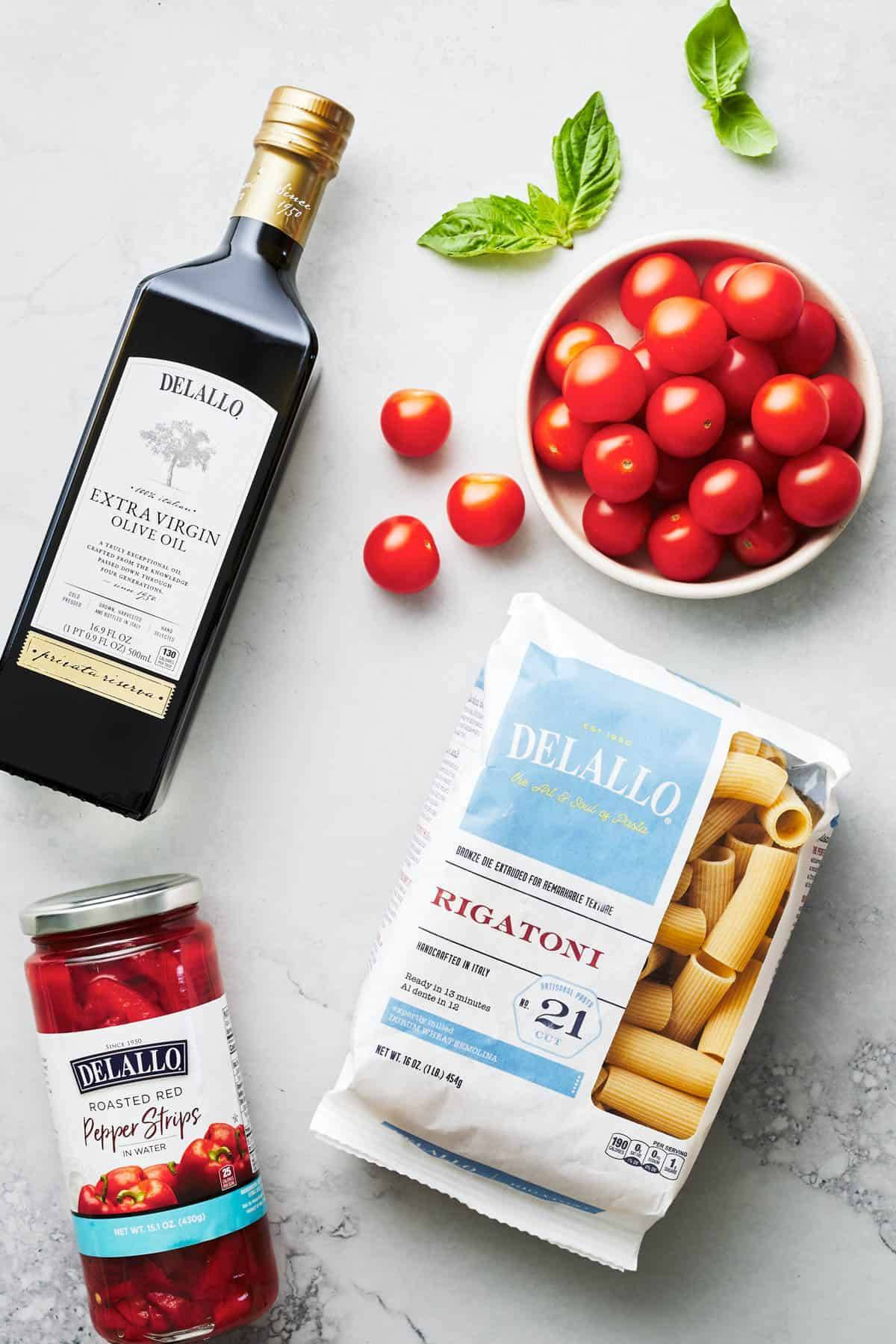 Ingredients for creamy red pepper pasta.