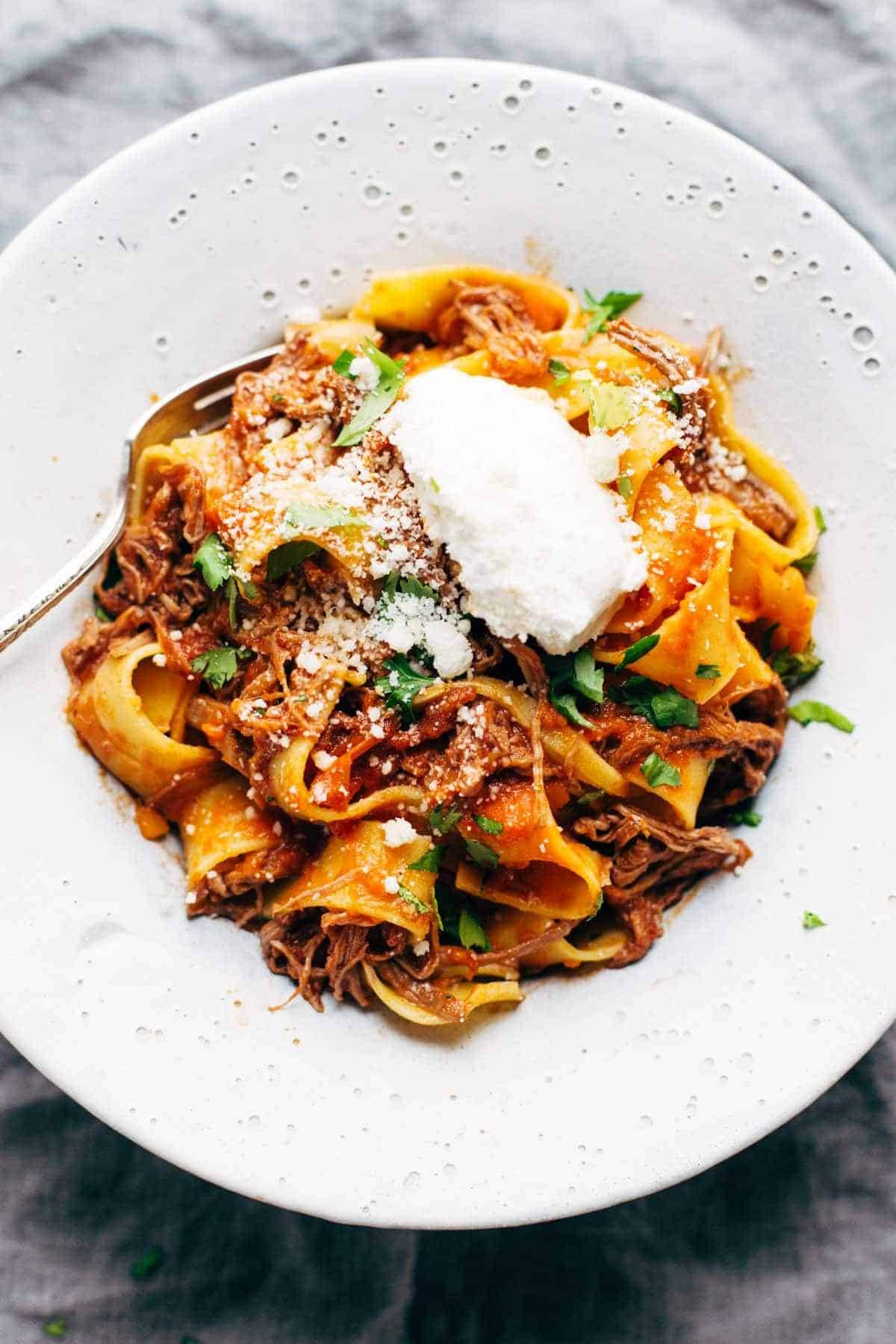 Slow Cooker Beef Ragu with Pappardelle in a bowl.