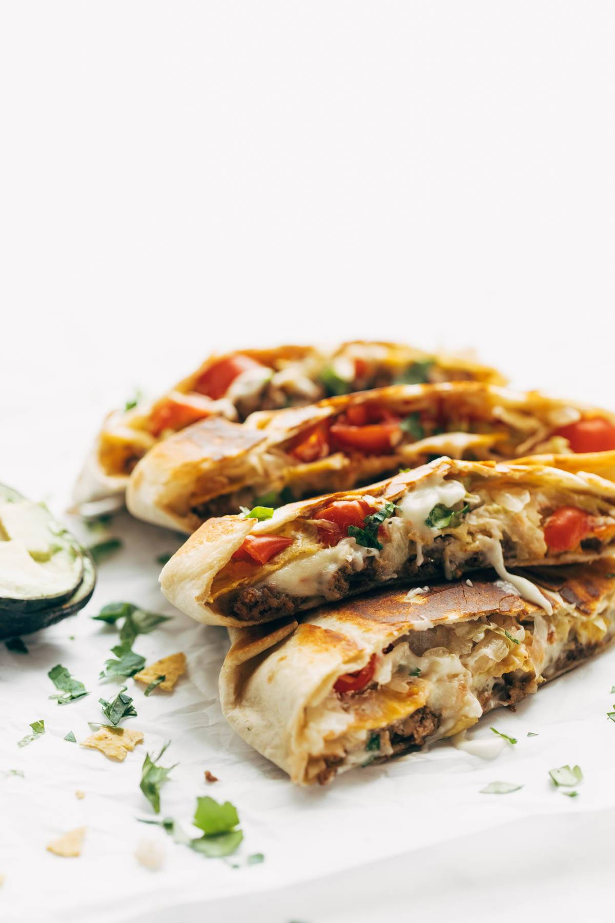 Crunchwrap Supremes stacked together.