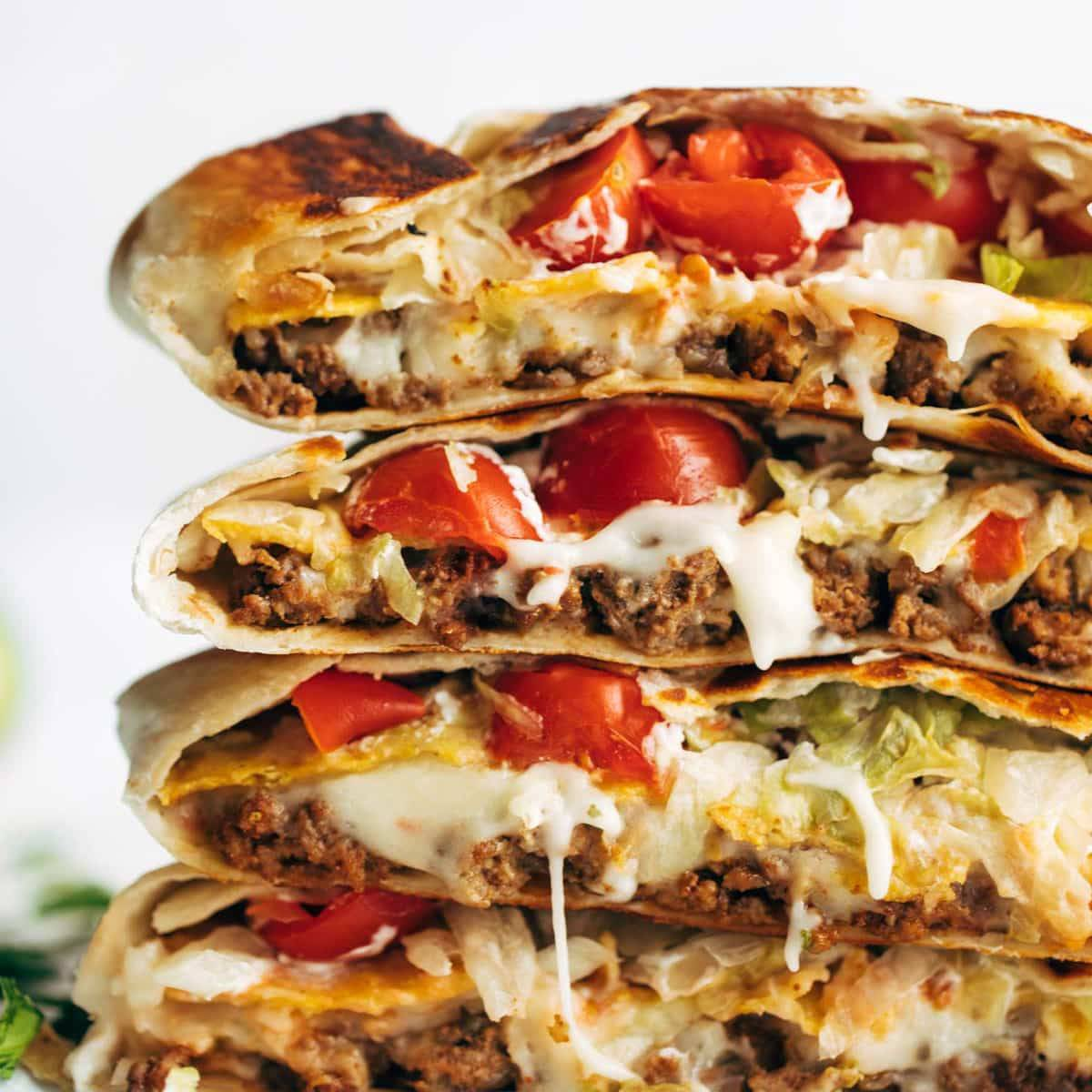 Crunchwrap Supreme in a stack.