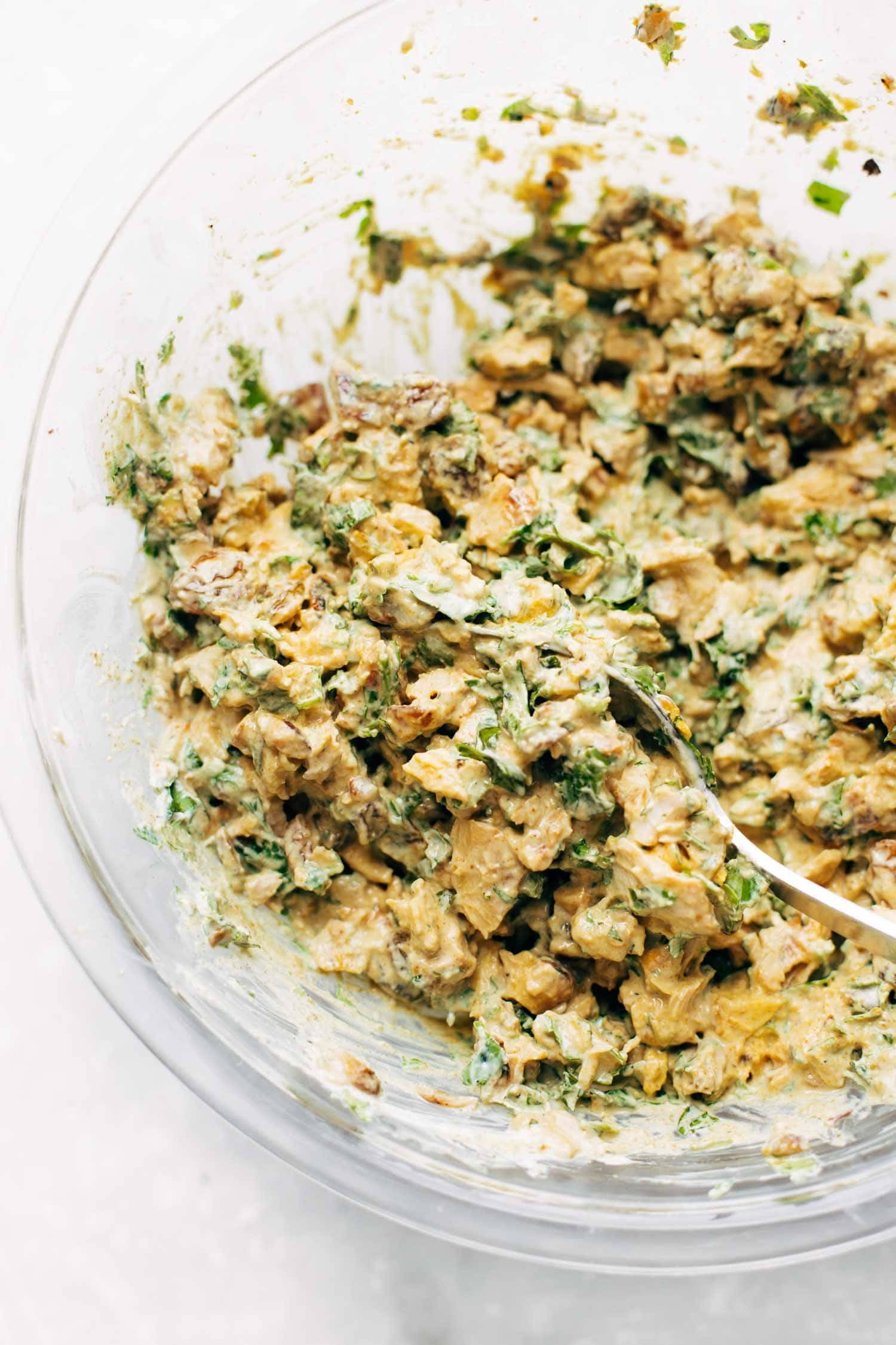 Curry Chicken Salad: healthy and super-yum. Just a few clean ingredients, like curry powder, chicken, golden raisins, pistachios, honey, and Greek yogurt. | pinchofyum.com