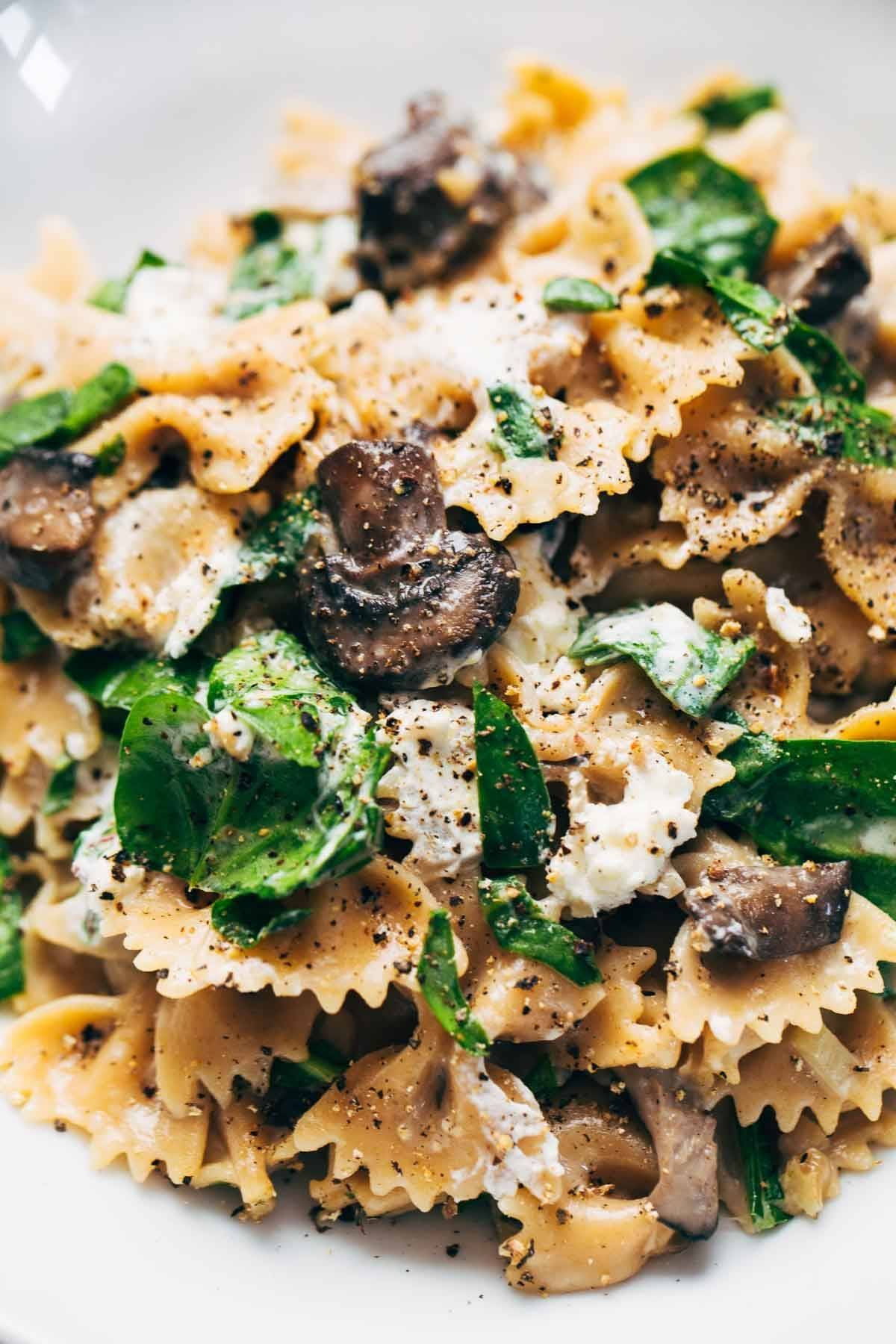 Mushroom Pasta with Goat Cheese.