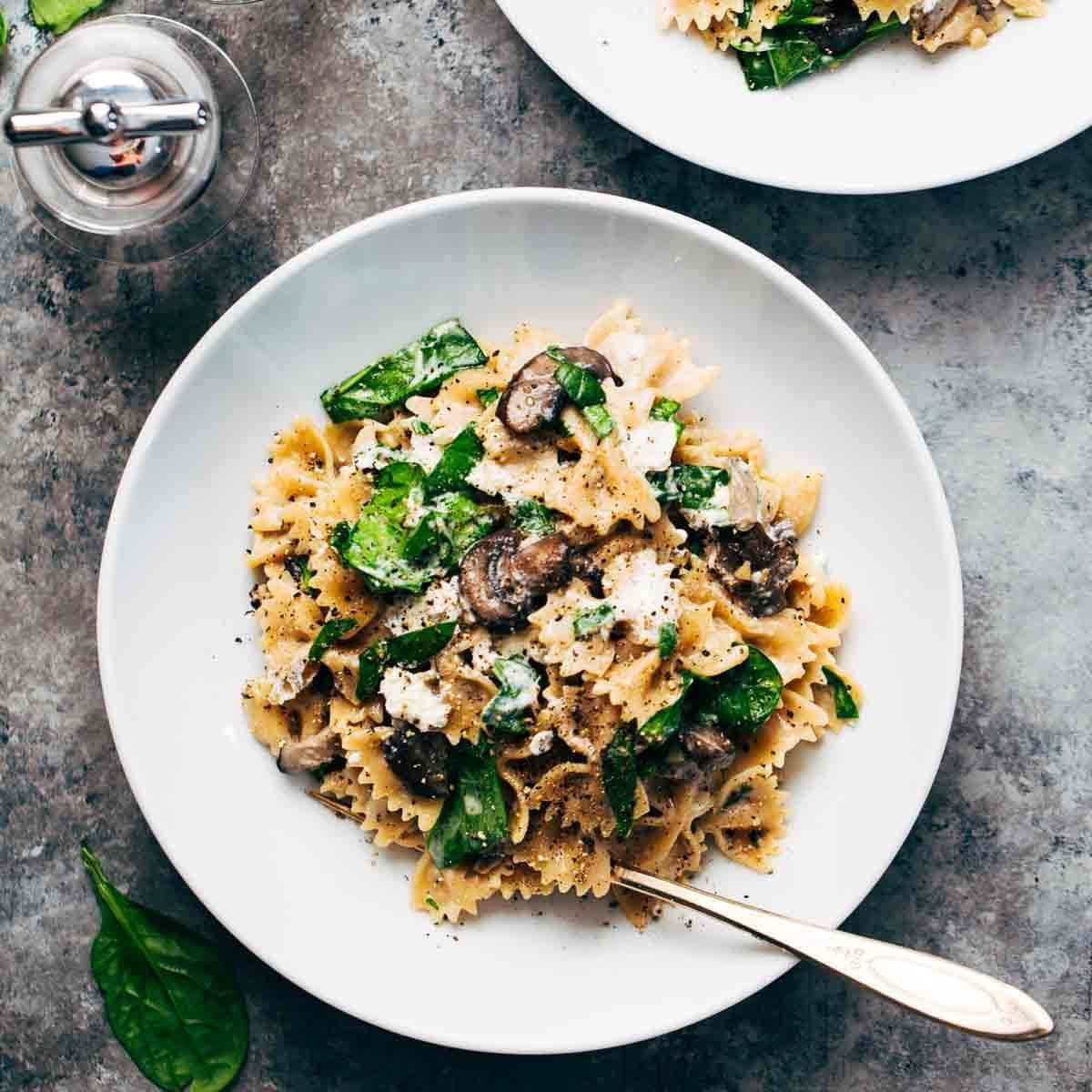 Mushroom Pasta with goat cheese in a bowl.