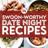 Date night recipes in a collage.