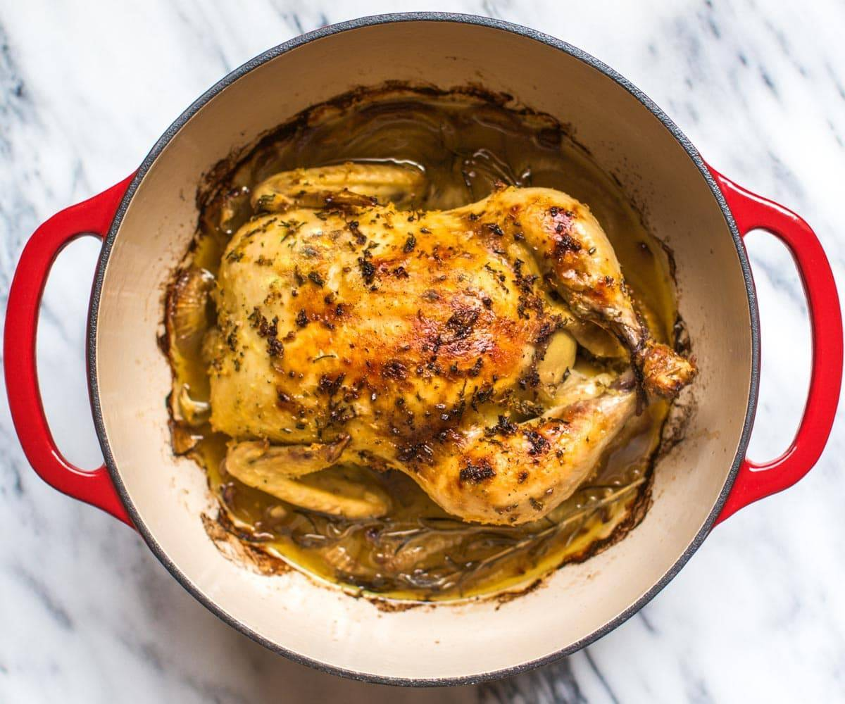 8 Dutch Oven Roasted Chicken