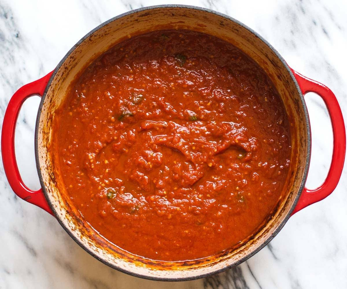 Homemade Tomato Sauce in the Dutch Oven.