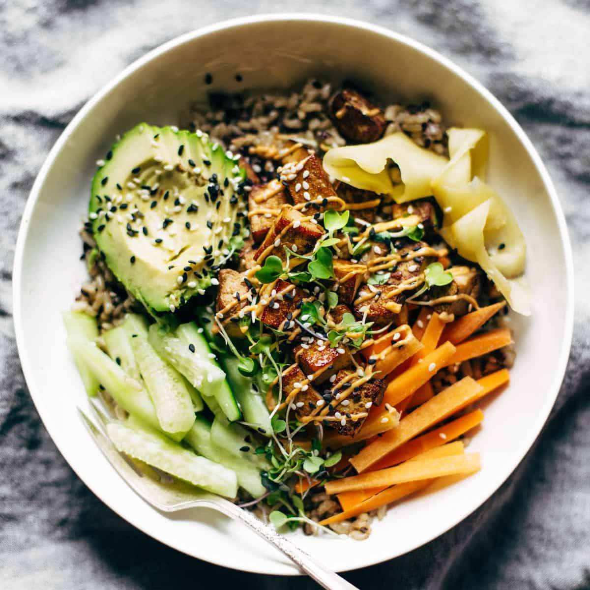 Dynamite Plant Power Sushi Bowl with carrots, cucumber, avocado, ginger and tofu.