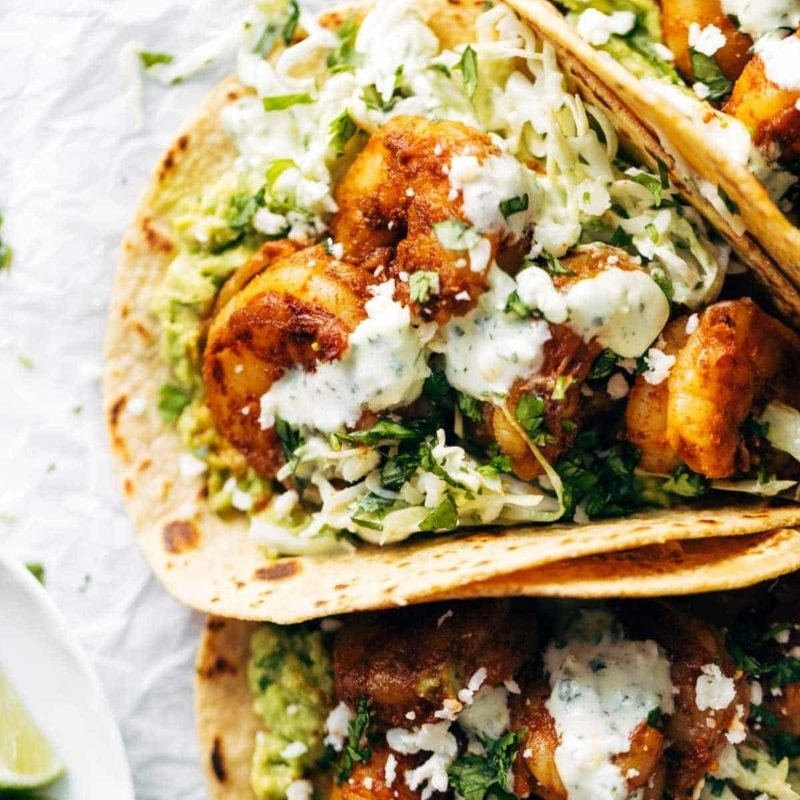 A picture of Spicy Shrimp Tacos with Garlic Cilantro Lime Slaw