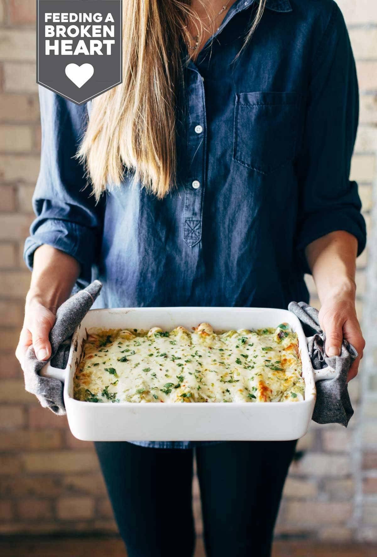 Enchiladas Verdes in a baking dish.