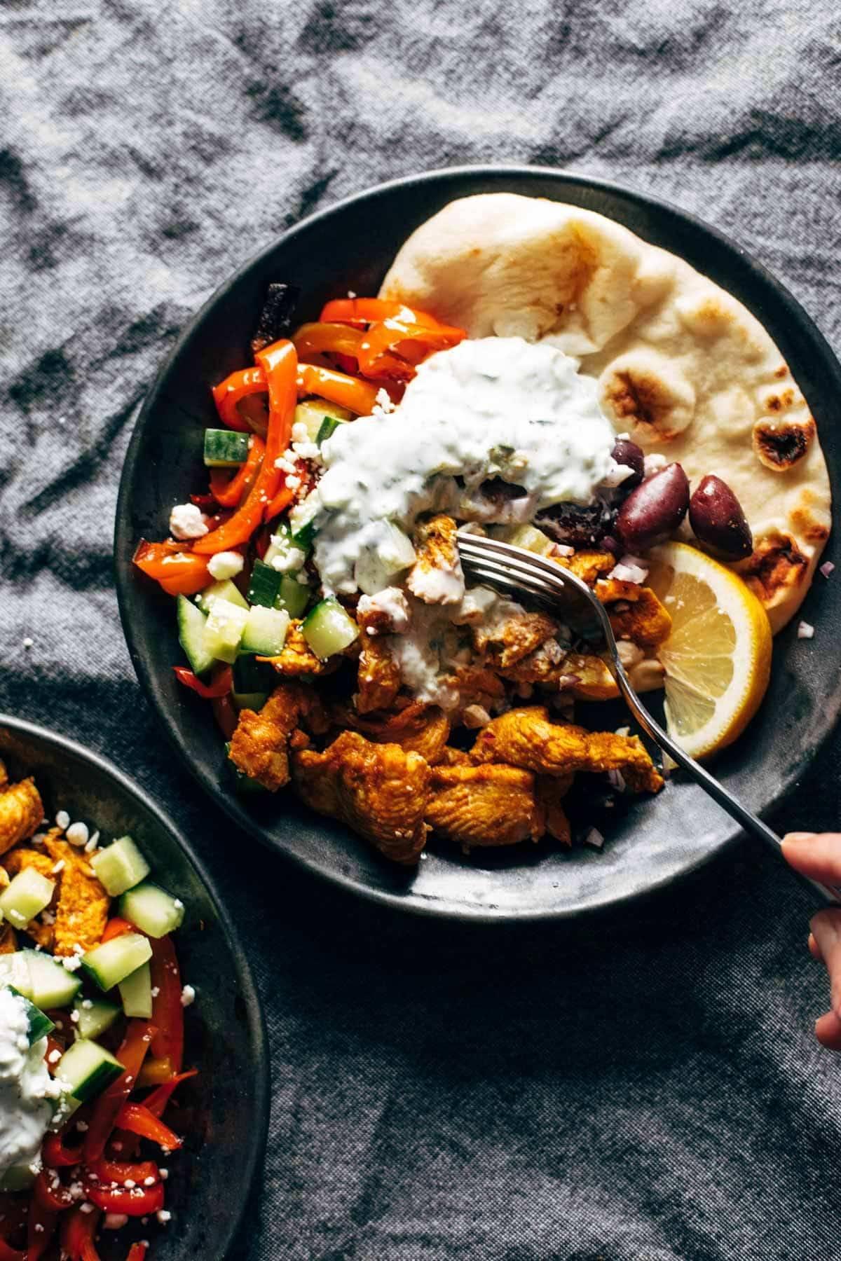 Sheet Pan Chicken Pitas with Tzatziki
