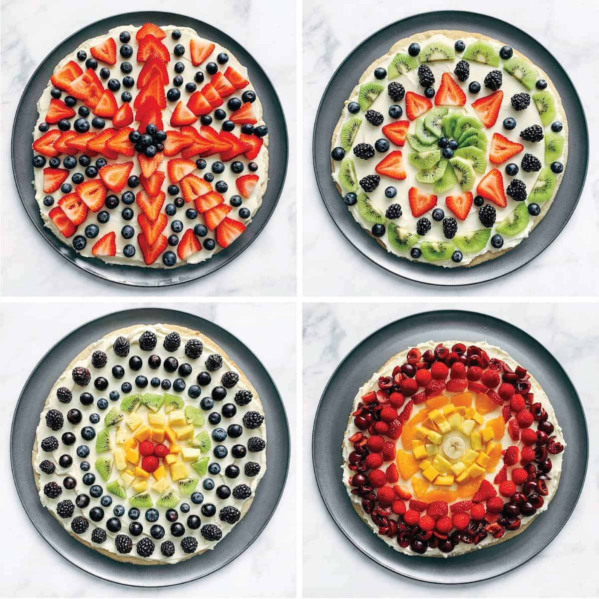 Different variations of fruit pizza