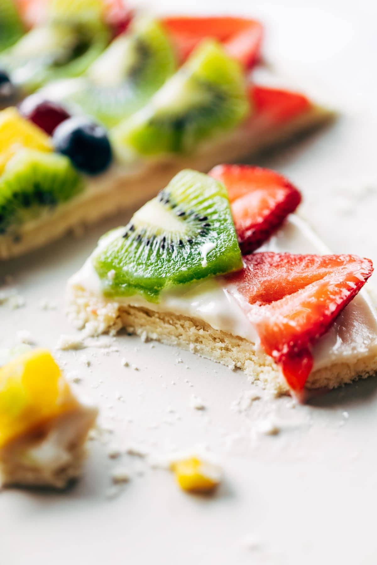 Close-up of fruit pizza.