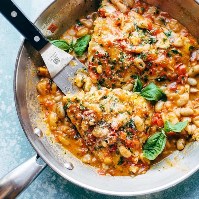 A picture of Garlic Basil Barramundi Skillet with Tomato Butter Sauce