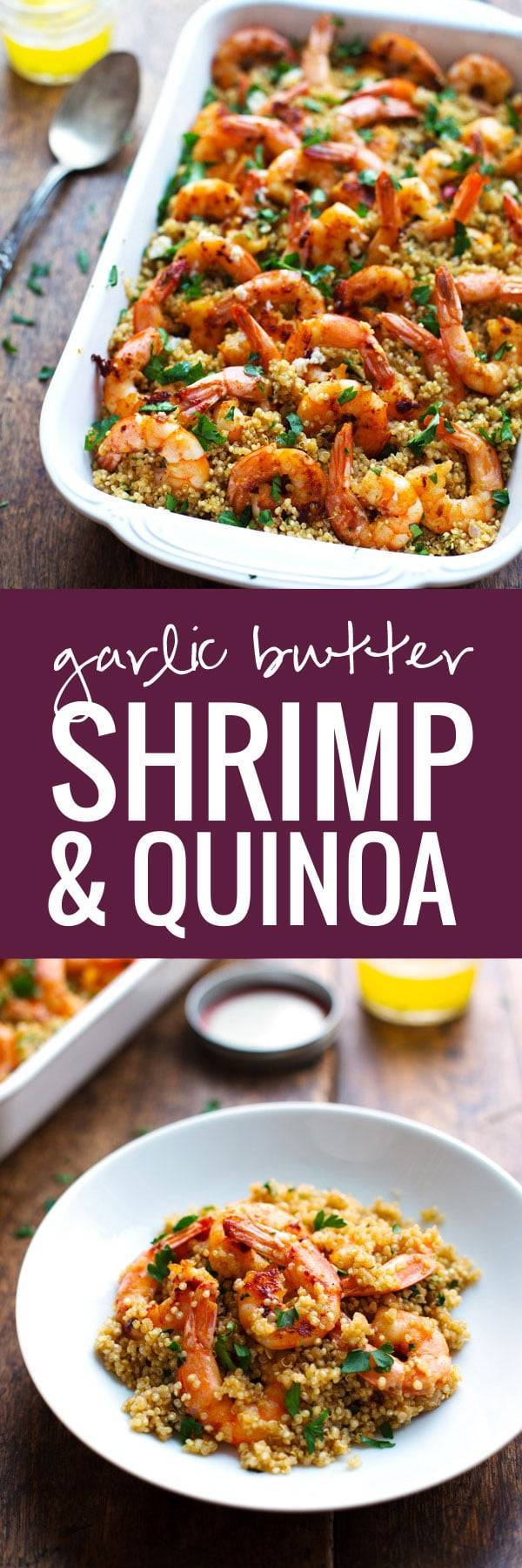 Garlic butter shrimp and quinoa recipe pinch of yum garlic butter shrimp and quinoa a simple 30 minute dinner that is elegant and full forumfinder Images