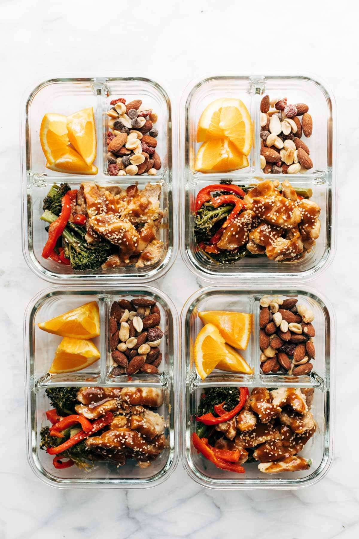 Garlic ginger chicken in meal prep containers.