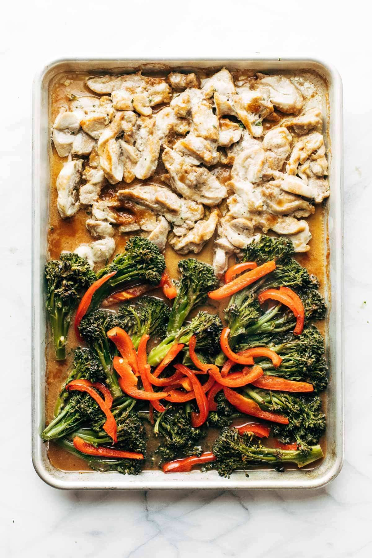 Chicken and veggies on a sheet pan.