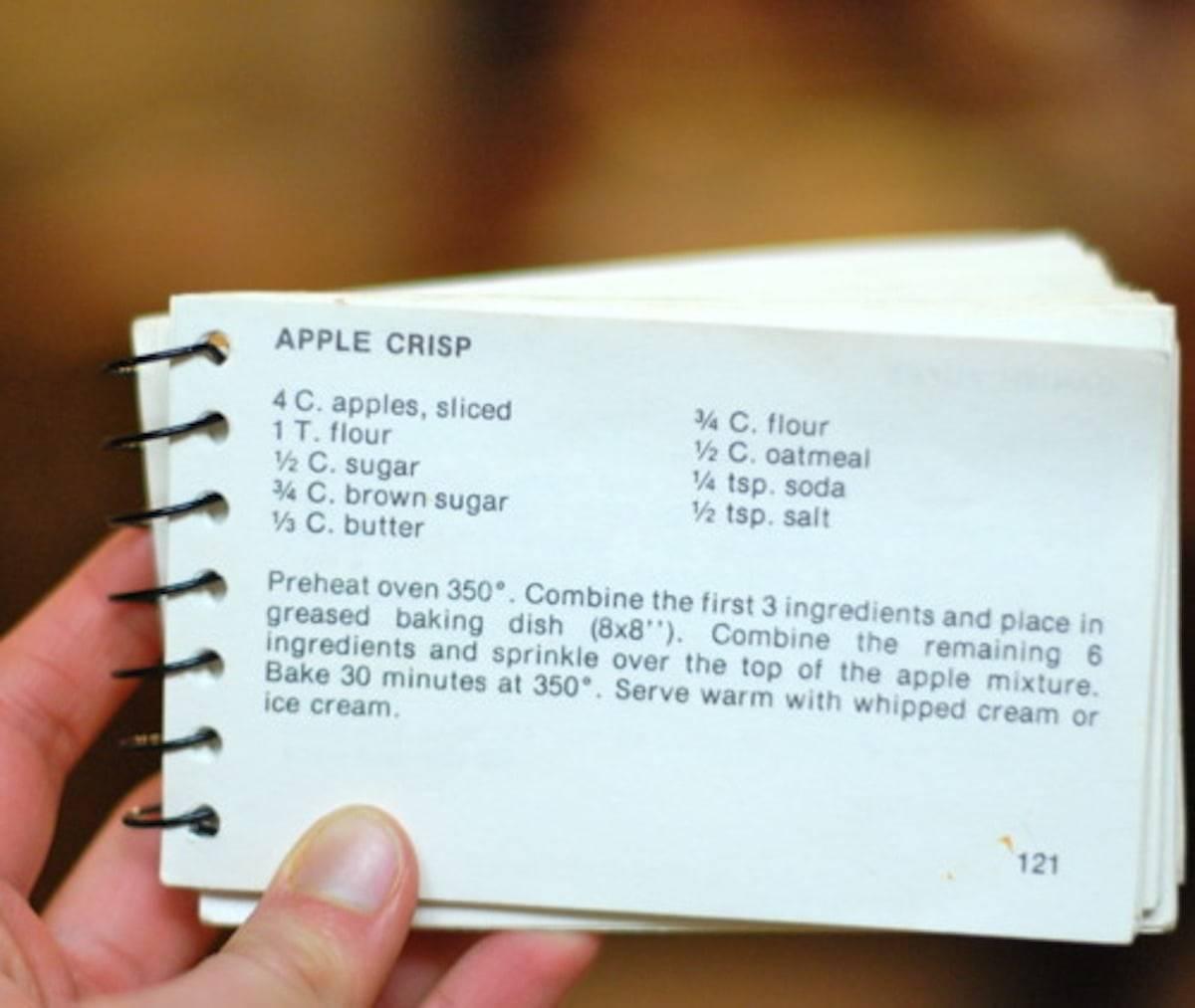 Apple Crisp Recipe On A Card