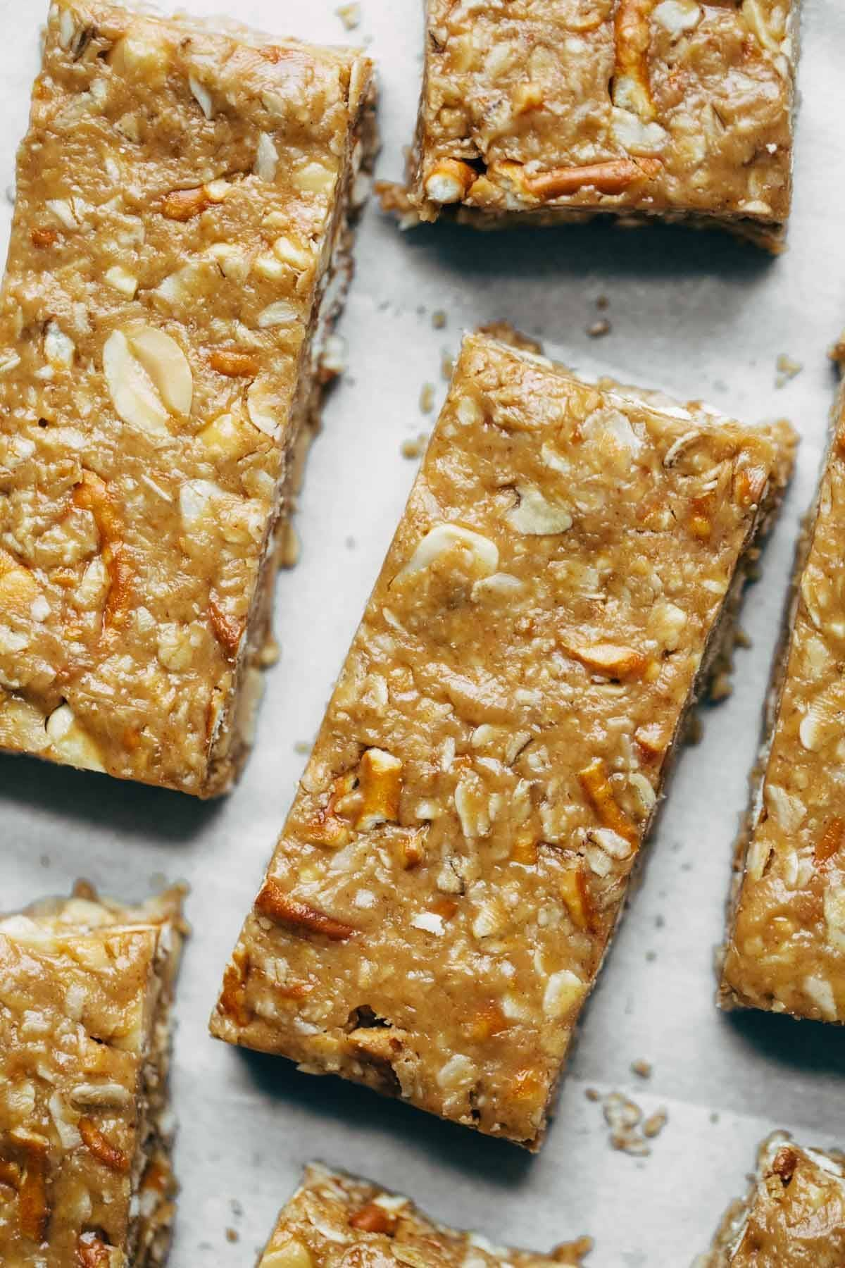 Granola bars on parchment paper.