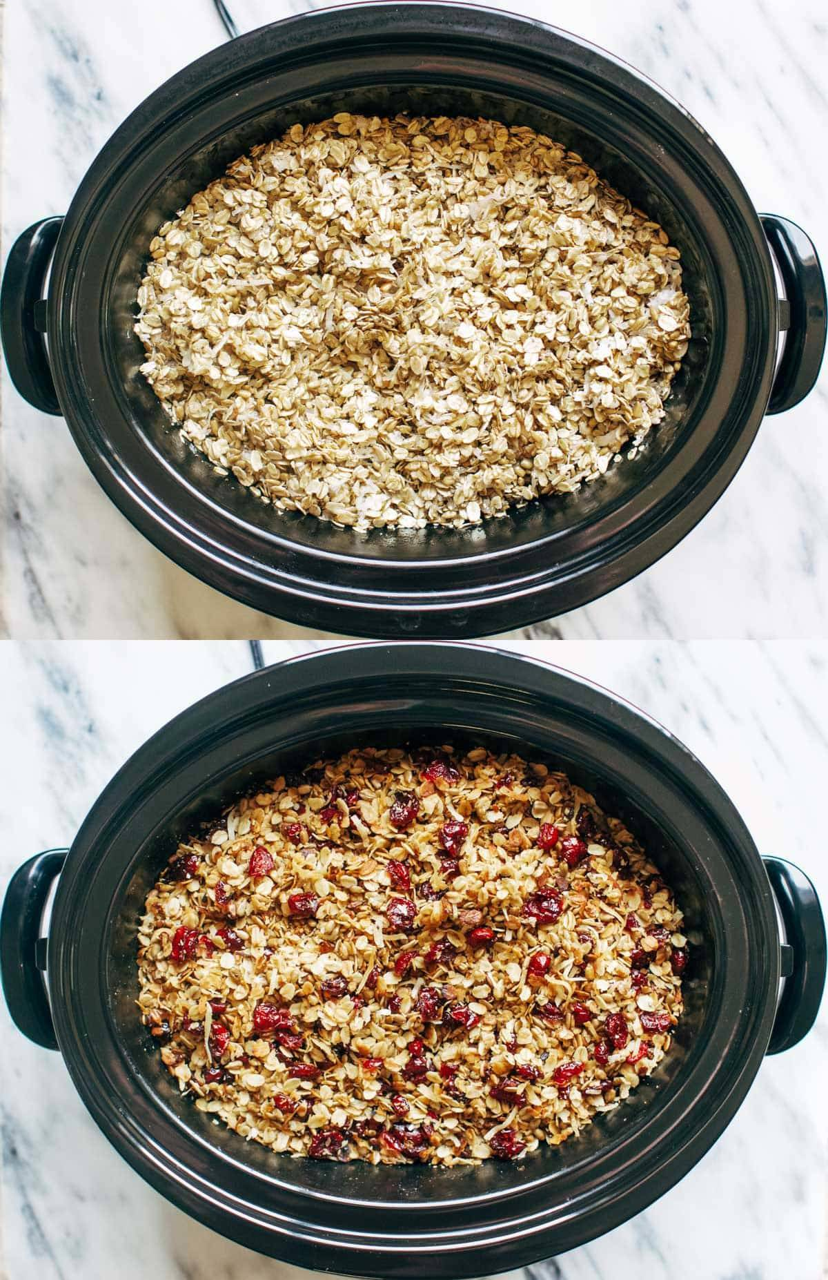 Granola in a slow cooker in two images.