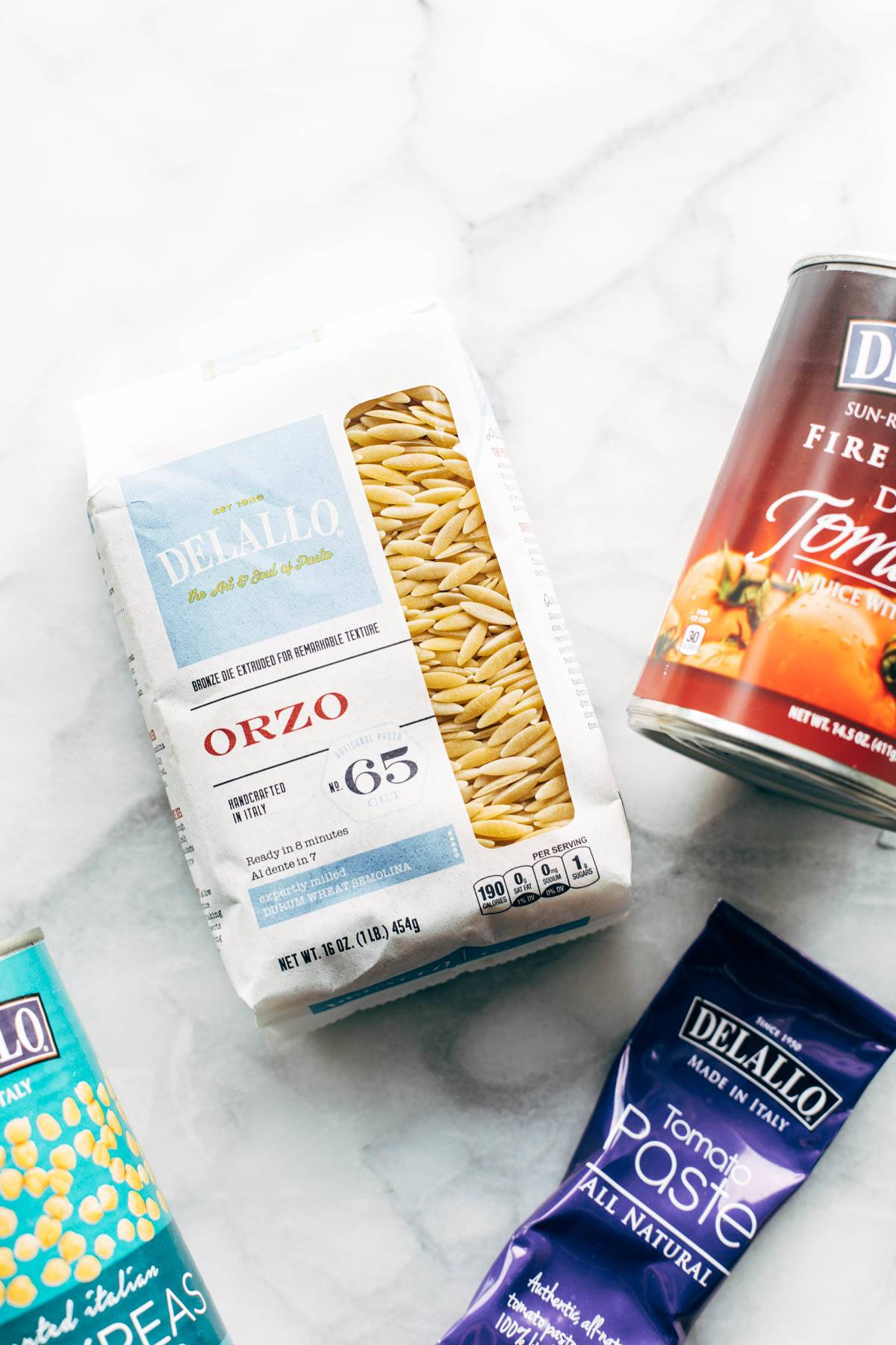 DeLallo ingredients for Greek Baked Orzo.