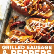 Grilled Sausage and Peppers with Garlic Aioli