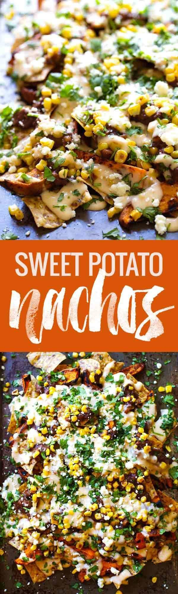 These Healthy Grilled Sweet Potato Nachos are veggie-loaded and smothered with a lighter homemade cheese sauce.