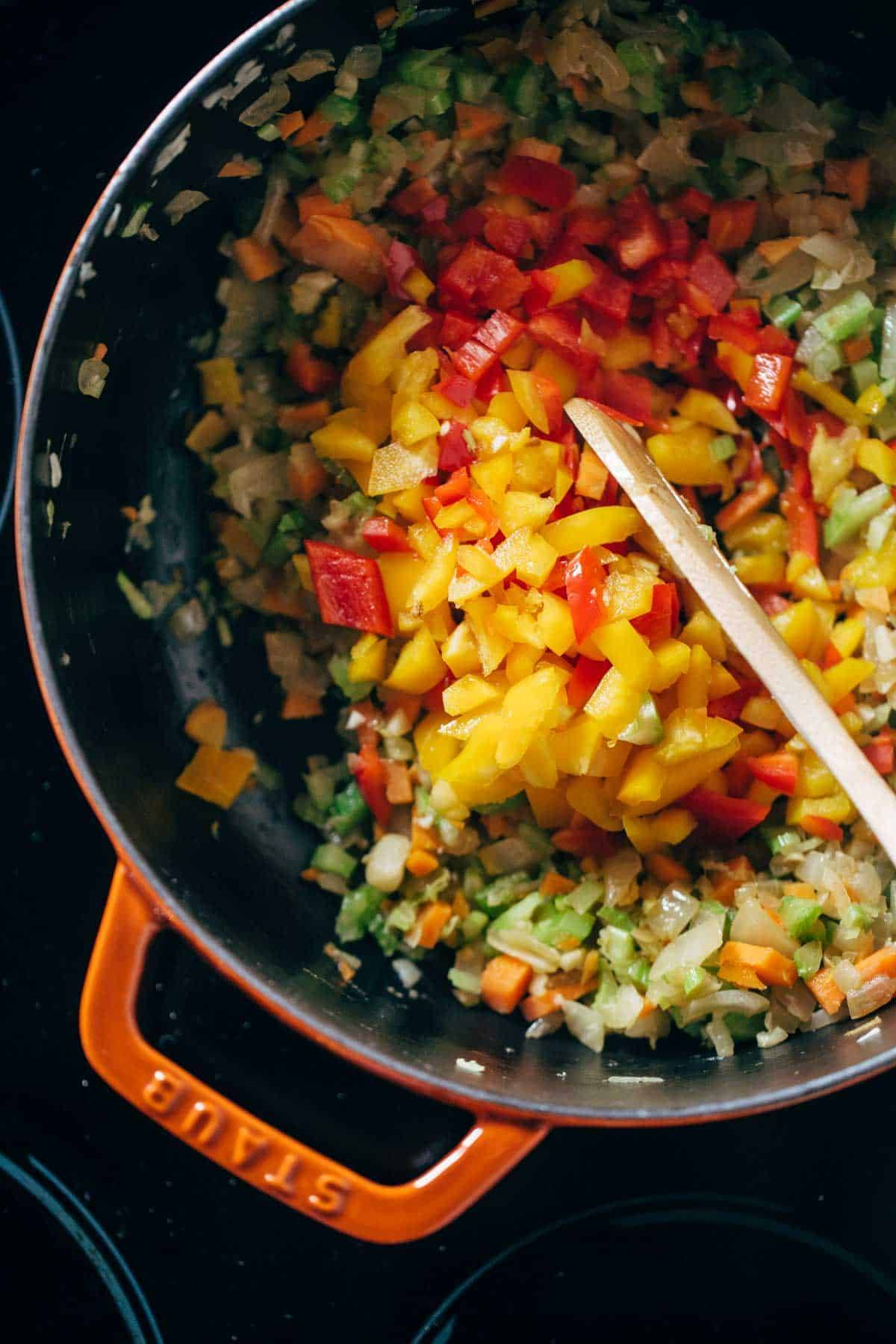 Mirepoix and Vegetables for the Gumbo | pinchofyum.com