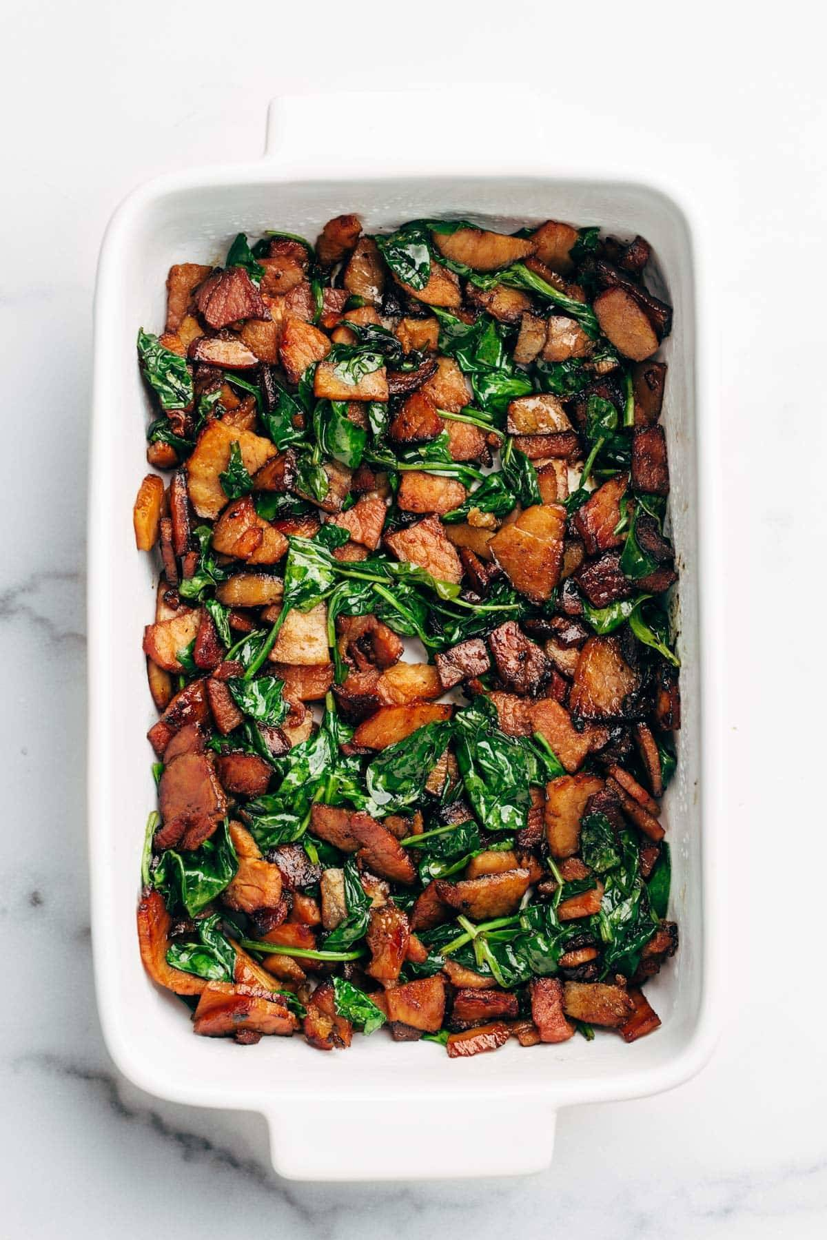 Ham and spinach and baking pan.