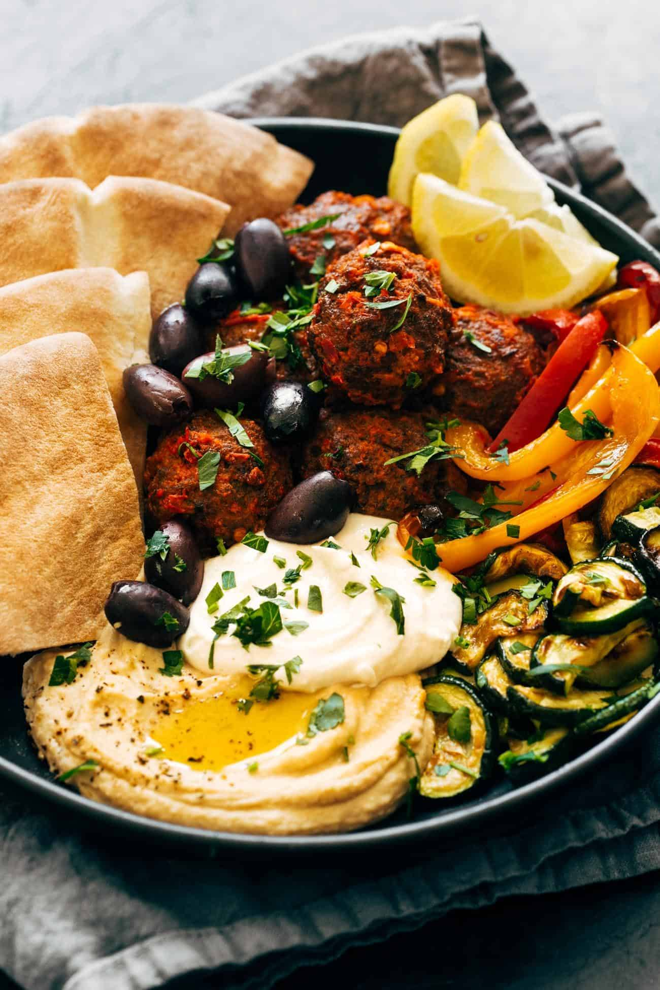Close-up of Harissa Meatballs in a bowl
