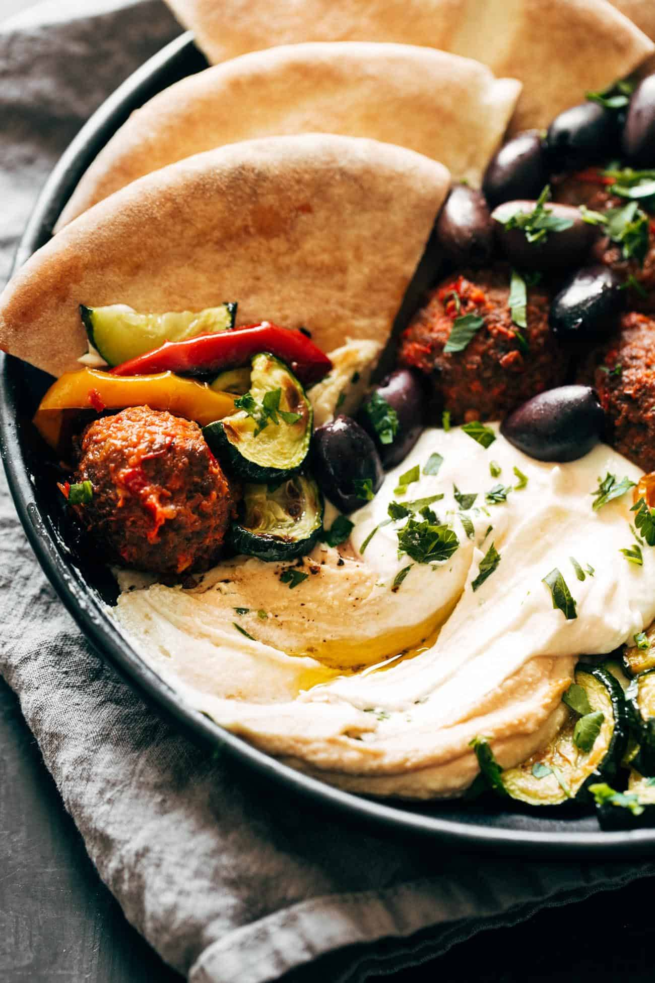 Close-up of Harissa Meatballs with Whipped Feta in a bowl