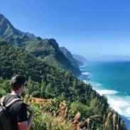 Bjork hiking the Na Pali coast.