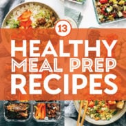 Healthy meal prep recipes in a collage.