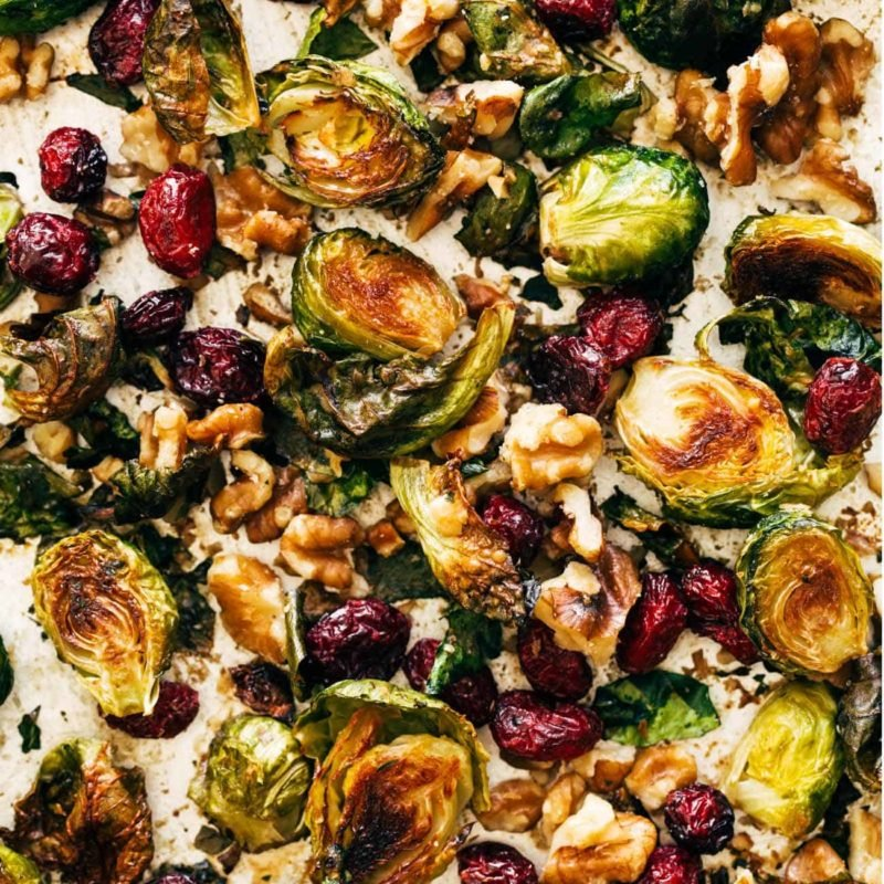 Brussels sprouts on a pan.