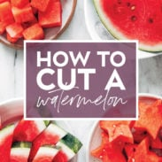 Image of watermelon with text on how to cut.