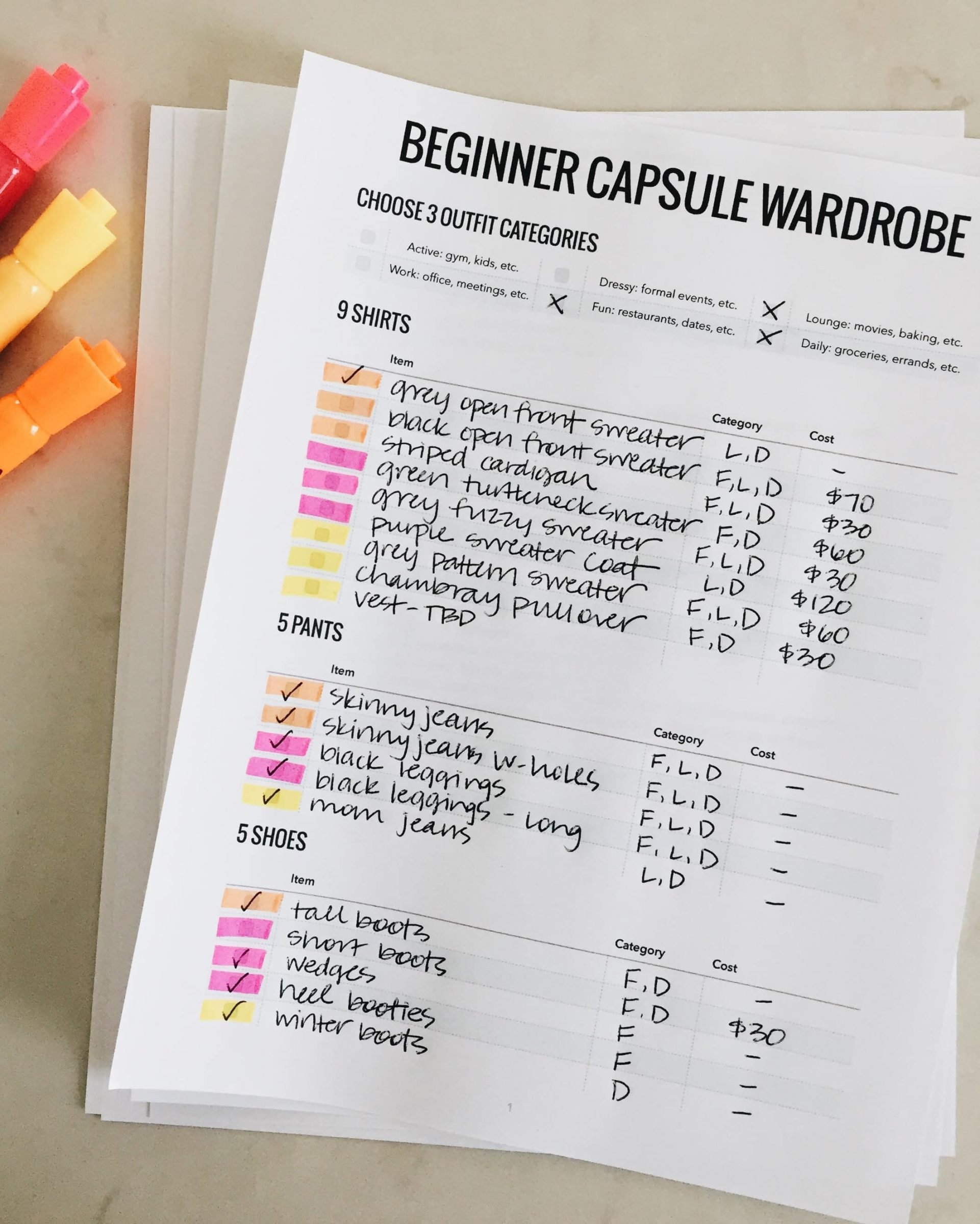 Beginnger Capsule Wardrobe Sheet Plan.