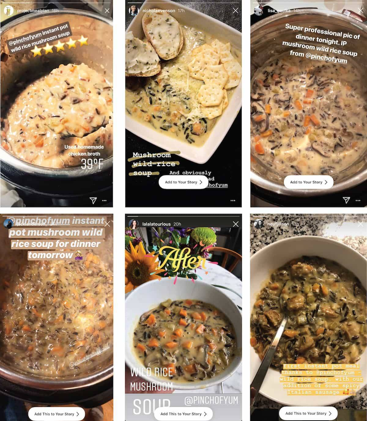 Wild Rice soup in bowls and pots.