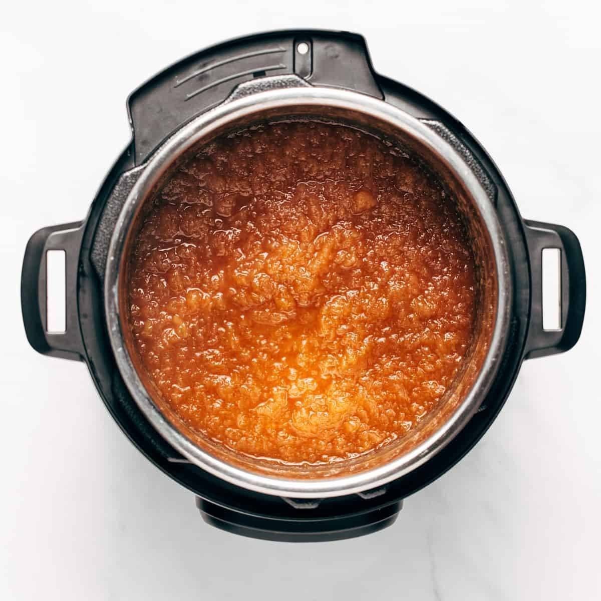 Cooked applesauce in an Instant Pot.