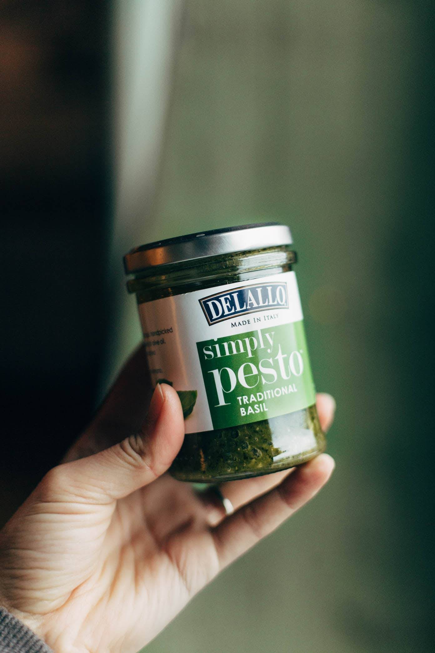 delallo pesto in a jar